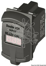Double/Dual USB Digital 12V / 24V Port Current Plug + Voltmeter. Marine Boat