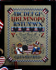SWEET LAND OF LIBERTY  RED WHITE & BLUE SAMPLER from CROSS QUICK -  VINTAGE