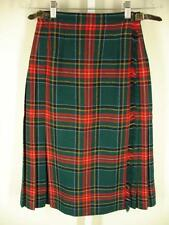 Laird Portch of Scotland Wool Kilt Wrap Skirt Green Black Red Plaid womens 6 24""