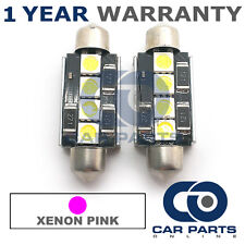 2X PINK CANBUS NUMBER PLATE INTERIOR 3 SUPER BRIGHT SMD LED BULBS 42MM 09PX2