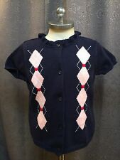 Gymboree New York Girl Blue Pink Preppy Argyle Short Sleeve Cardigan Sweater 5/6