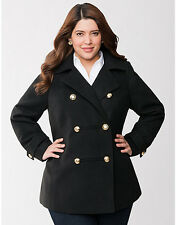 NEW LANE BRYANT $170 BLACK MILITARY PEACOAT COAT JACKET SZ 18/20