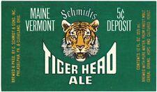 Schmidt's Tiger Head Ale Deposit Beer Label