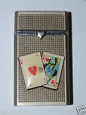 WOW Ace Queen Hearts Black Jack Holdem Poker Silver Tone Torch Lighter Flip Top