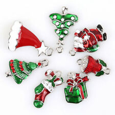 14pcs Plated Rhodium Enamel Mixed 7 Christmas Jewelry Alloy Charms Pendants D