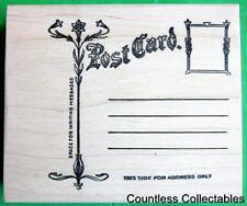 Antique Postcard Post Card Floral Template Note Letter River City Rubber Stamp