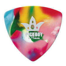 6 (SIX) PICKBOY 0.75mm Triangle Rounded Multi Color Clown Rainbow Guitar Picks