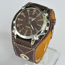 SOKI Brown Analog Quartz Mens Womens Unisex Wrist Watch 03Z