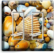 SEA SHELLS BEACH STONES DOUBLE GFI LIGHT SWITCH WALL PLATE BATHROOM SUMMER HOUSE