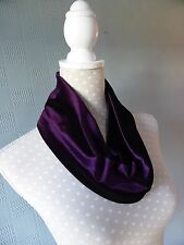 Purple velvet snood, purple cowl scarf, purple loop scarf