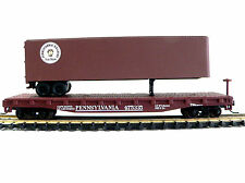 N SCALE MODEL RAILROAD TRAINS LAYOUT PENNSY FLAT CAR WITH PIGGYBACK TRAILER