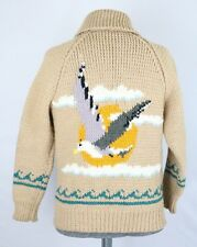 VINTAGE WOOL HEAVY HAND KNIT COWICHAN SWEATER SEAGUL