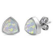 Trillion Shape White Opal Studs .925 Sterling Silver Earrings