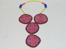 NATIVE AMERICAN FULL BEADED MEDALLION NECKLACE, HANDMADE 20 1/2 INCHES BEAUTIFUL