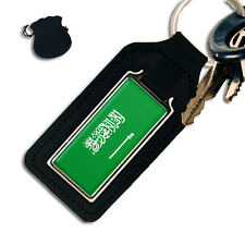 SAUDI ARABIA FLAG EAGLE OBLONG LEATHER KEYRING / KEYFOB