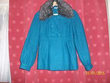 Therapy 59% laine veste/manteau taille 8, bleu turquoise, amovible col en fourrure rrp £ 70