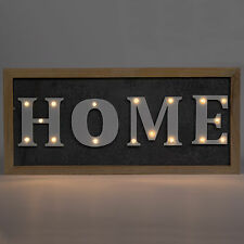 Rustic LED Light Up HOME Wall Mounted Sign Plaque Word Art Decor Metal Wooden
