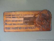 ANTIQUE COPPER SIGN IDAHO TURKEY FARMERS OVEN READY GOBBLERS READY FOR STUFFING