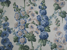 SANDERSON CURTAIN FABRIC DESIGN Hollyhocks 3.8 METRES SAPPHIRE/GREEN DVIN224308