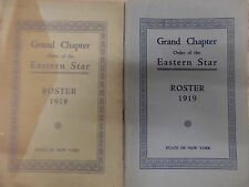 Grand Chapter Order of The Eastern Star Roster 1918/9 New York 101816DBL