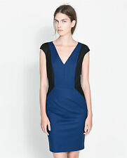 NWT ZARA BLUE BLACK GEOMETRIC SIDE PANEL PENCIL DRESS S SMALL 8 4 36