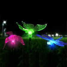 Set of 3 Color-Changing Solar Garden Stake Light bird Dragonfly Butterfly