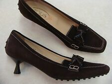 TOD'S dark brown nubuck suede low heel mocs pumps 7 37