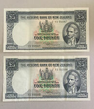 NEW ZEALAND CONS PAIR OF FIVE POUND1955-1967 FLEMING aEF   Y3 550567 - Y3 550568
