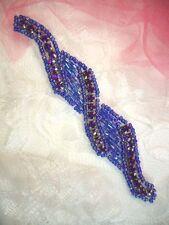Purple Rhinestone Applique Beaded Motif Craft Patch Sewing DIY Costume (XR129)