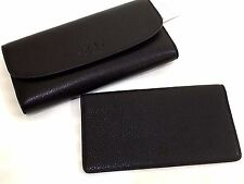 New Authentic Coach Pebbled Leather Checkbook Trifold Wallet Black $250+gift box