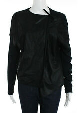 NWT BURNING TORCH Black Leather Cotton Contrast Long Sleeve Blouse Sz S $478