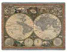 ARISTOTLE'S FOUR  ELEMENTS OLD WORLD MAP TAPESTRY THROW AFGHAN BLANKET 70x54