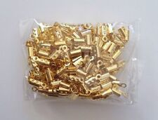 200 PCS Gold Plated Copper Chain End Caps Crimp Cord Jewelry Tools Making 55s