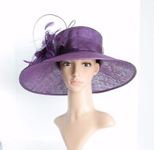 "High Quality Church Kentucky Derby Wedding Sinamay 5"" Wide Brim Purple hat 5027"