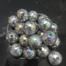 10pcs Gary Crackle Glass Round 16mm Beads Jewelry Findings Craft Bead Supply