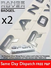 TITANIUM SILVER RANGE ROVER LETTERS BADGE LETTERING VOGUE SPORT REAR BONNET BOOT