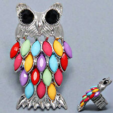 Silvertone Multi-Colored Owl Stretch Cocktail Ring