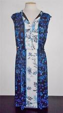 ADRIANNA PAPELL MS SIZE MEDIUM BLUE, BLACK & WHITE FLORAL PRINT CHIFFON DRESS