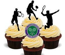 Wimbledon Mens' Tennis Silhouettes Edible Cupcake Toppers, Stand-up Fairy Cake