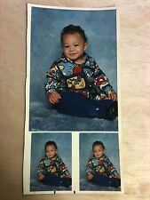 Vintage FOUND PHOTO PORTRAIT SHEET 3 PICTURES CUTE BLACK BABY 90'S CLOTHING