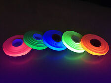 "5 Roll Pack GLOW UV Neon Gaffers Hoop Tape 1/4"" 30 ft Rolls ALL Neon Colors Hula"