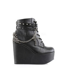 "POISON-101 GOTH COMBAT PUNK ROCK CASUAL 5"" WEDGE PLATFORM ANKLE BOOT"