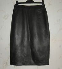Super Brown Leather IMPERIO CLANDESTINO Zip Pencil Knee Length Skirt Sz M, L 25