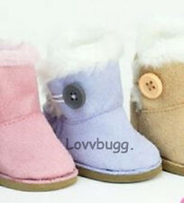 "Lavender Button Shearling Ewe Uggly Fur Boots for 18"" American Girl Doll Clothes"