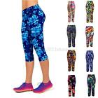 Women Capris Leggings High Waisted Floral Printed Crop Tight Pants Yoga Fitness