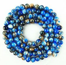 Beautiful unique 8mm blue and white Lampwork Glass loose bead 15.5 inch BA937