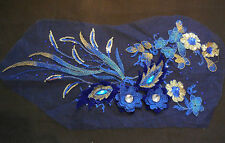 Luxury Large piece Blue & Gold sequins beads floral lace Applique/ lace motif