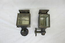 RARE VINTAGE 1910's 1920's OIL COACH COWL LIGHTS CABIN LANTERN ORIGINAL PAIR