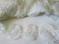 VINTAGE EMBROIDERED ORGANZA TRIM    50mm wide,  priced per metre