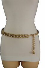 New Women Fancy Fashion Chunky Gold Metal Chain Links Belt Hip Waist Size M L XL